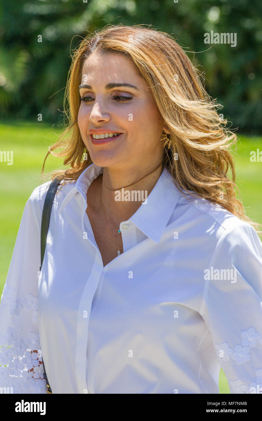 Their Majesties King Abdullah II bin Al-Hussein and Queen Rania Al-Abdullah of Jordan at Government House in Sydney as part of the Royal visit to Australia in November 2016. Pictured: Queen Rania Al-Abdullah. - Stock Image