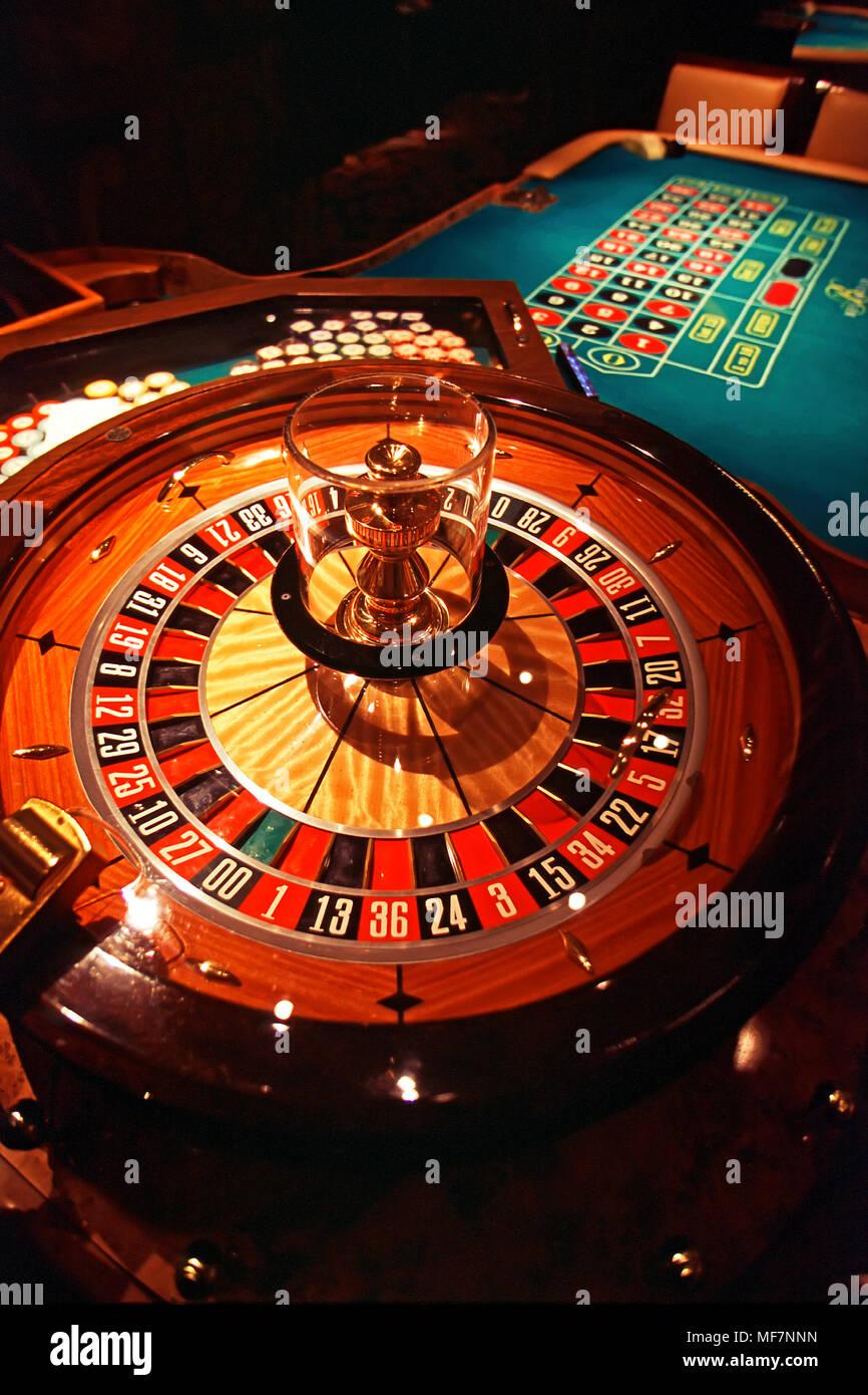 Roulette wheel, Las Vegs casino, Nevada, USA - Stock Image