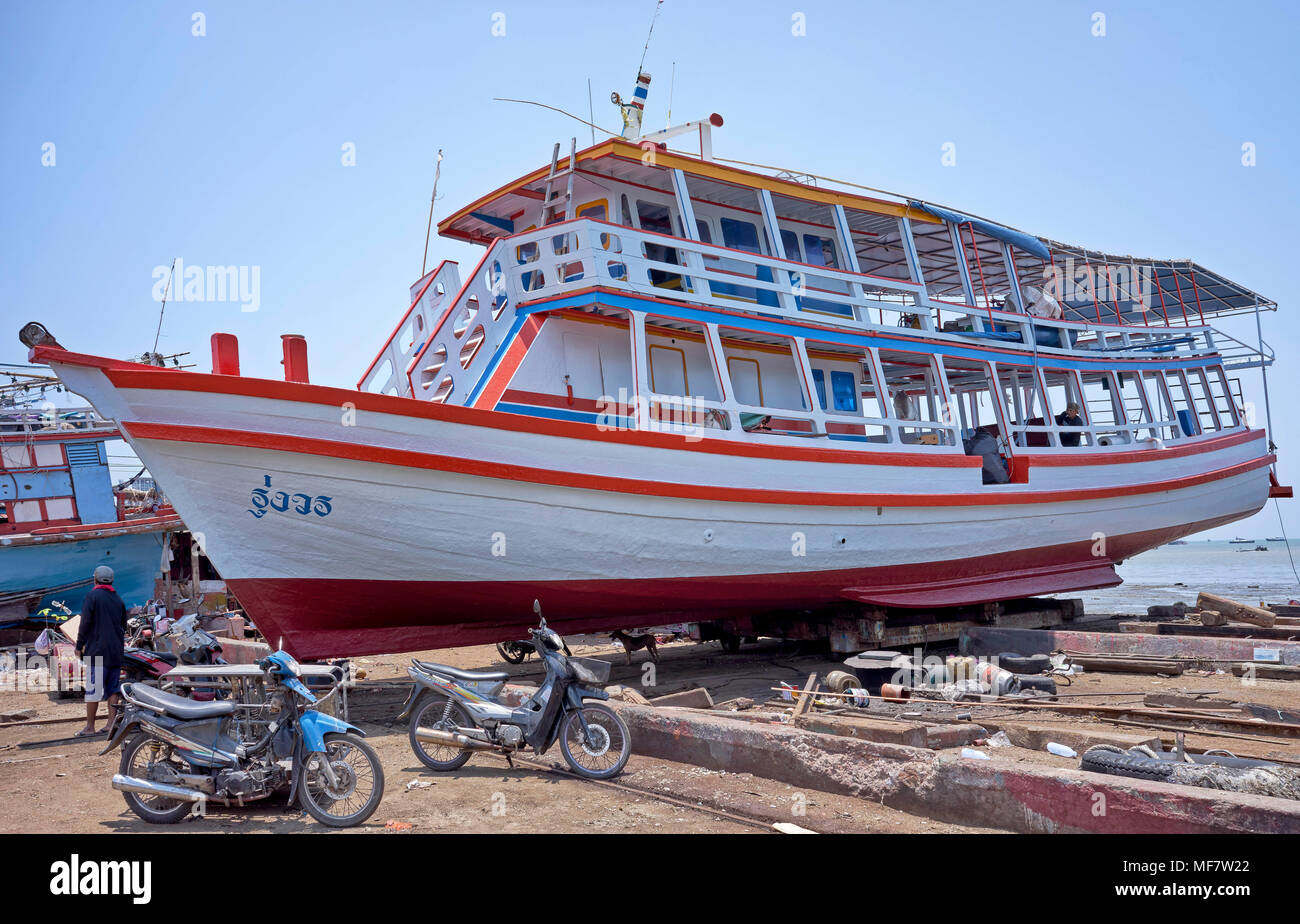 Boat repair and renovation yard, Thailand, Southeast Asia Stock Photo