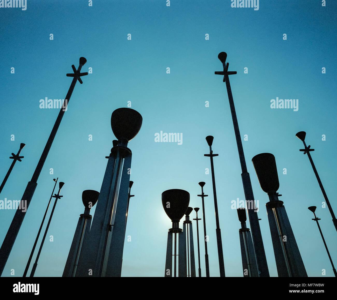 Silhouette of the Federation Bells, Birrarung Marr, Melbourne, Victoria, Australia - Stock Image