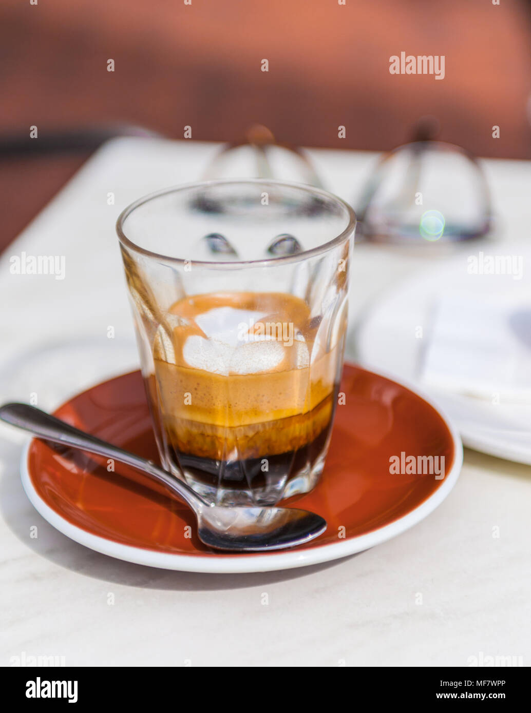 short black coffee on table - Stock Image