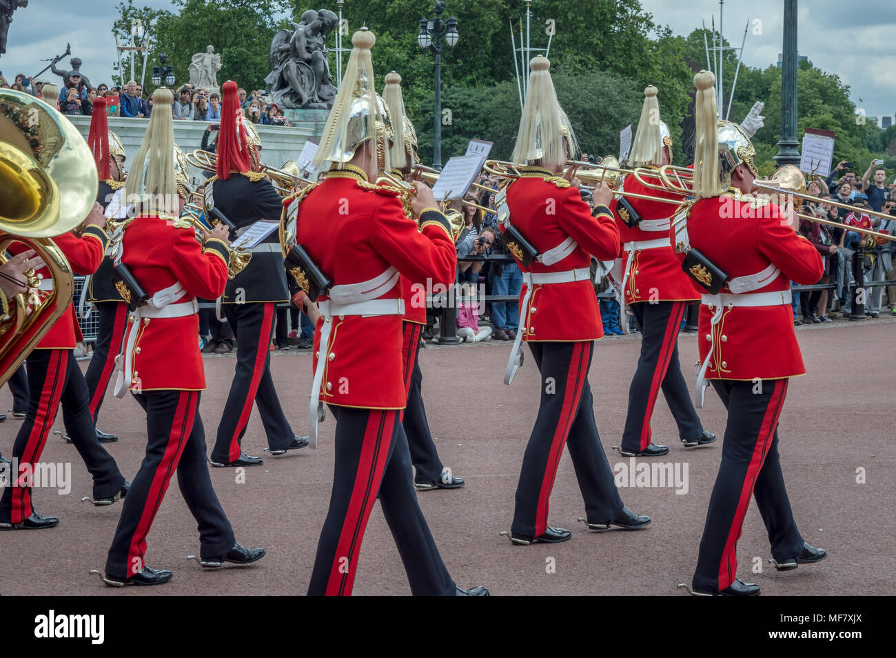 LONDON, ENGLAND - June 26, 2016 - The changing of the guards at Buckingham Palace, London, United Kingdom Stock Photo