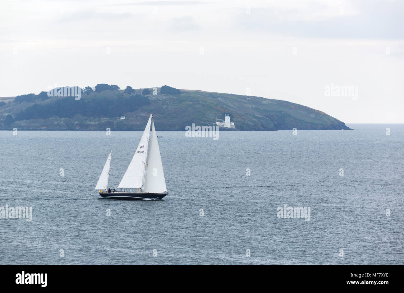 Yatch in the bay at Swanpool near Falmouth Cornwall - Stock Image