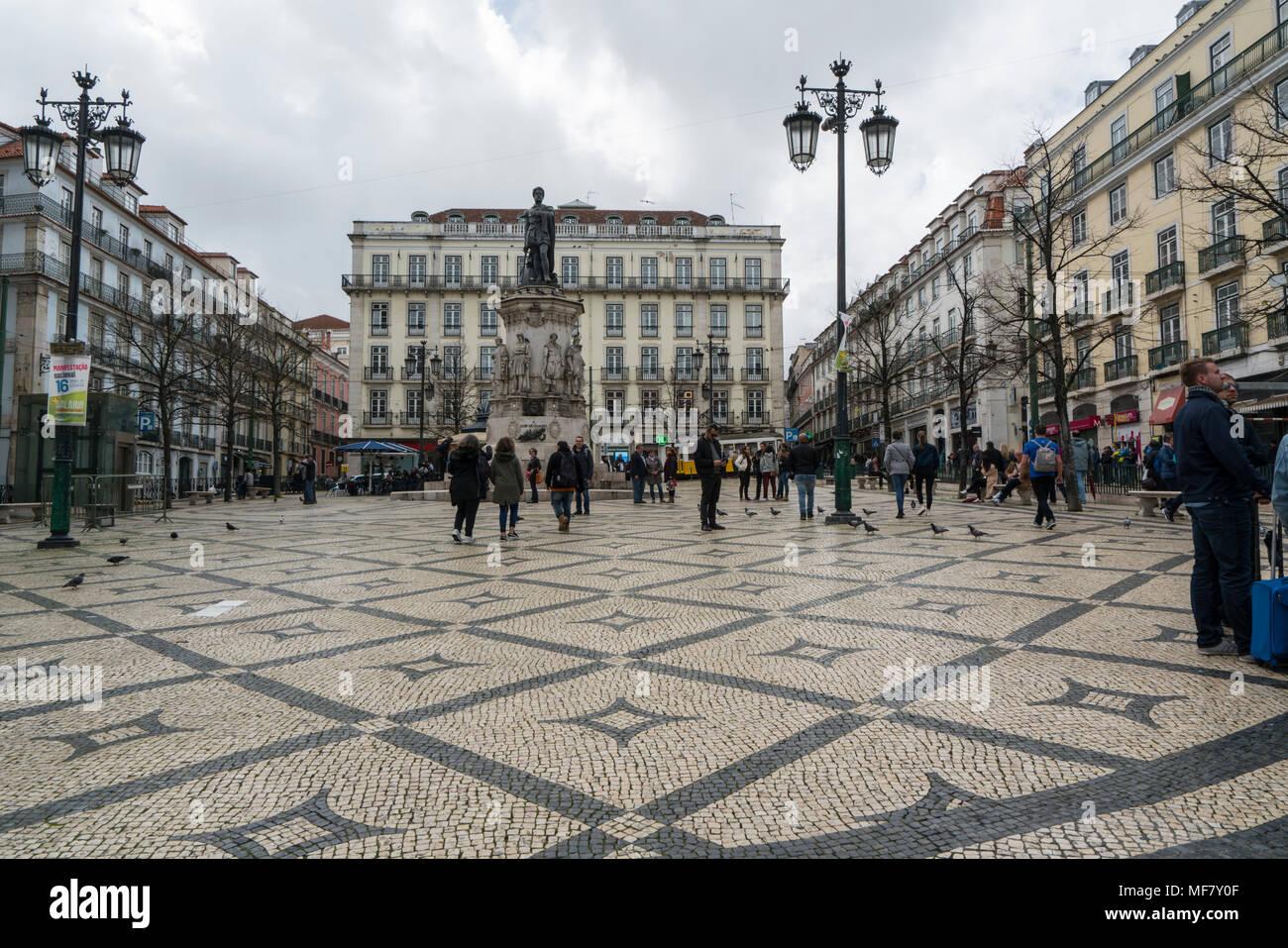The statue of  the poet Luis de Camões in  Luis de Camões Square in Lisbon, Portugal Stock Photo