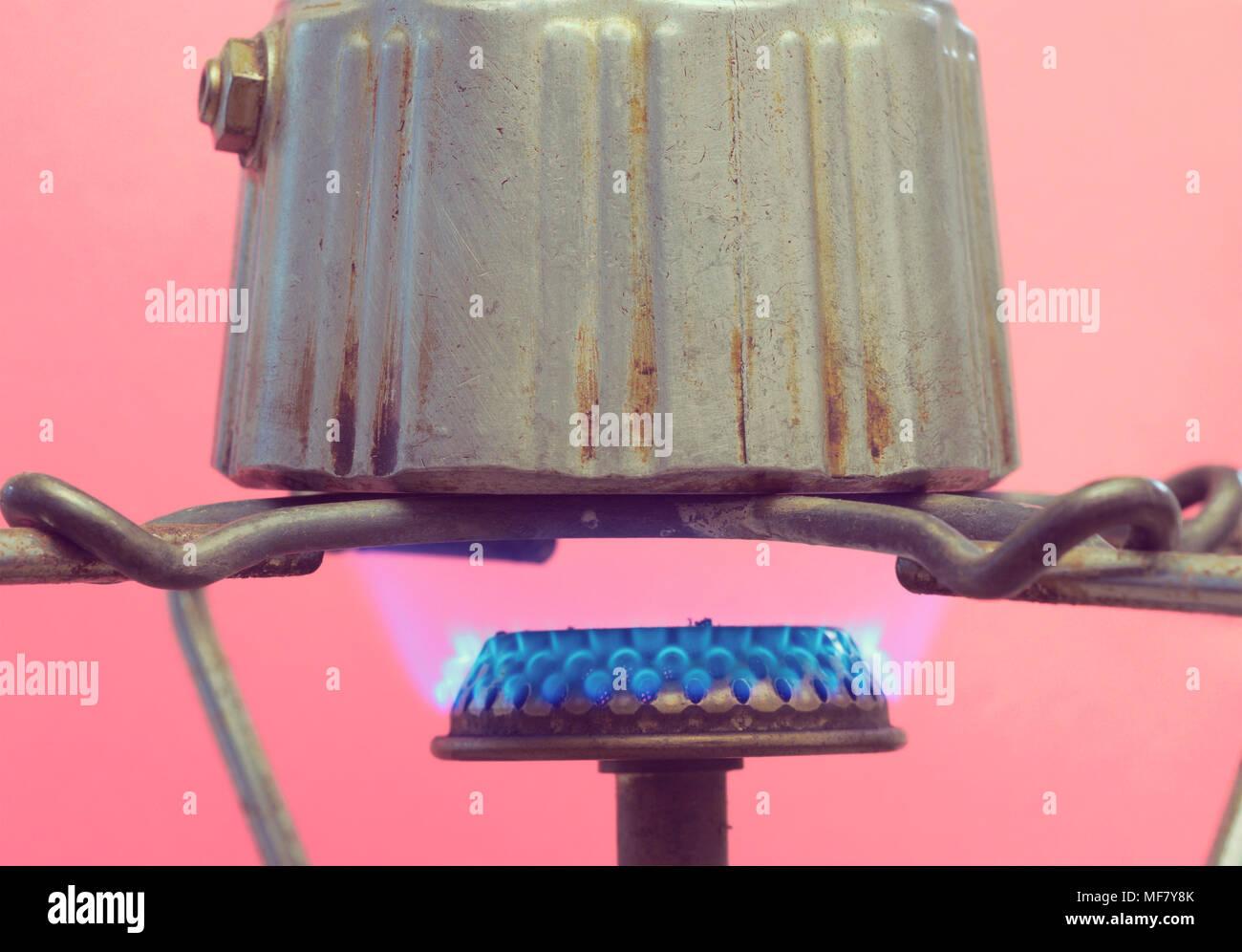 Moka pot on gas stove - Stock Image