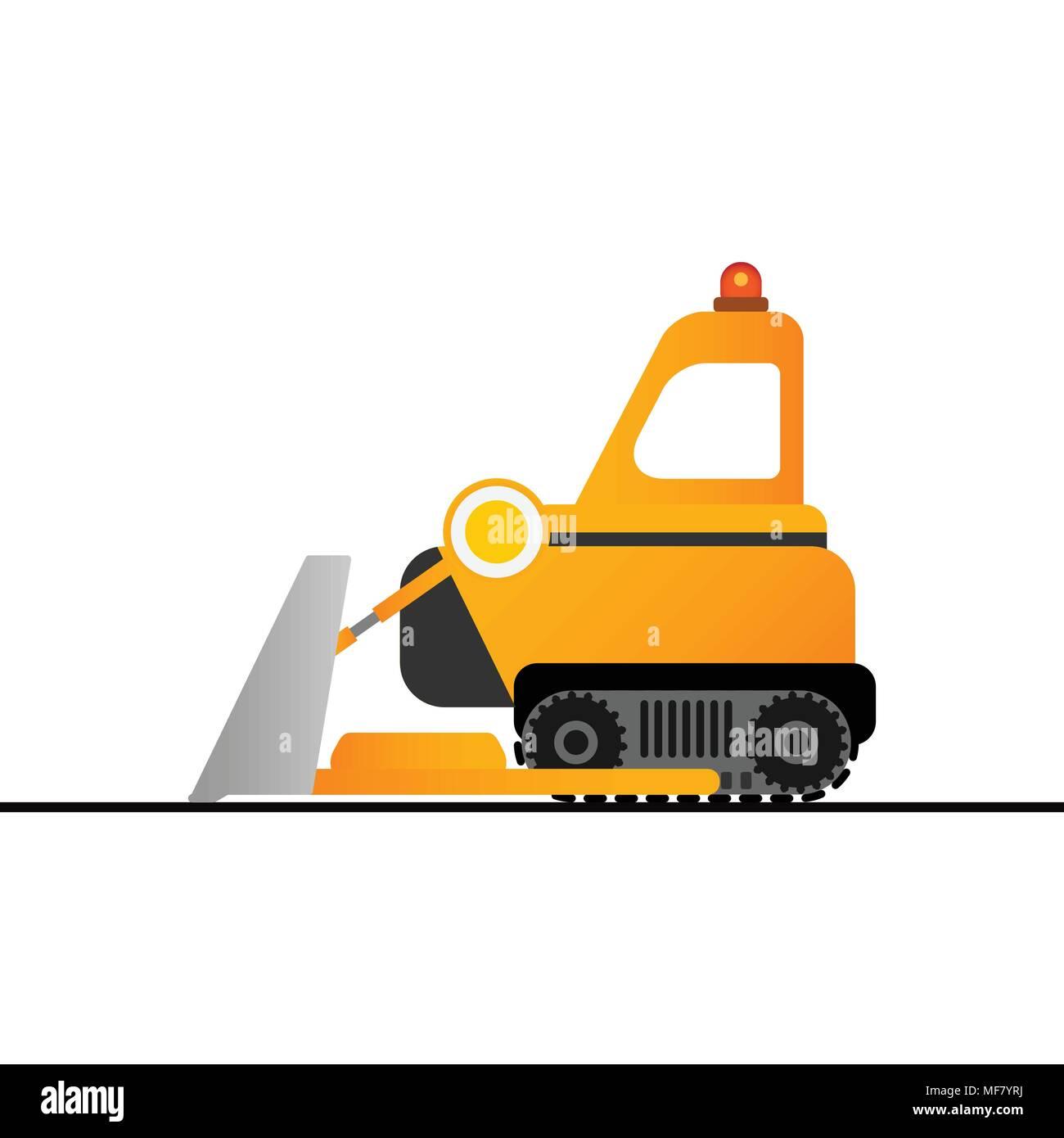 Yellow bulldozer on white background. Mining industry. - Stock Vector
