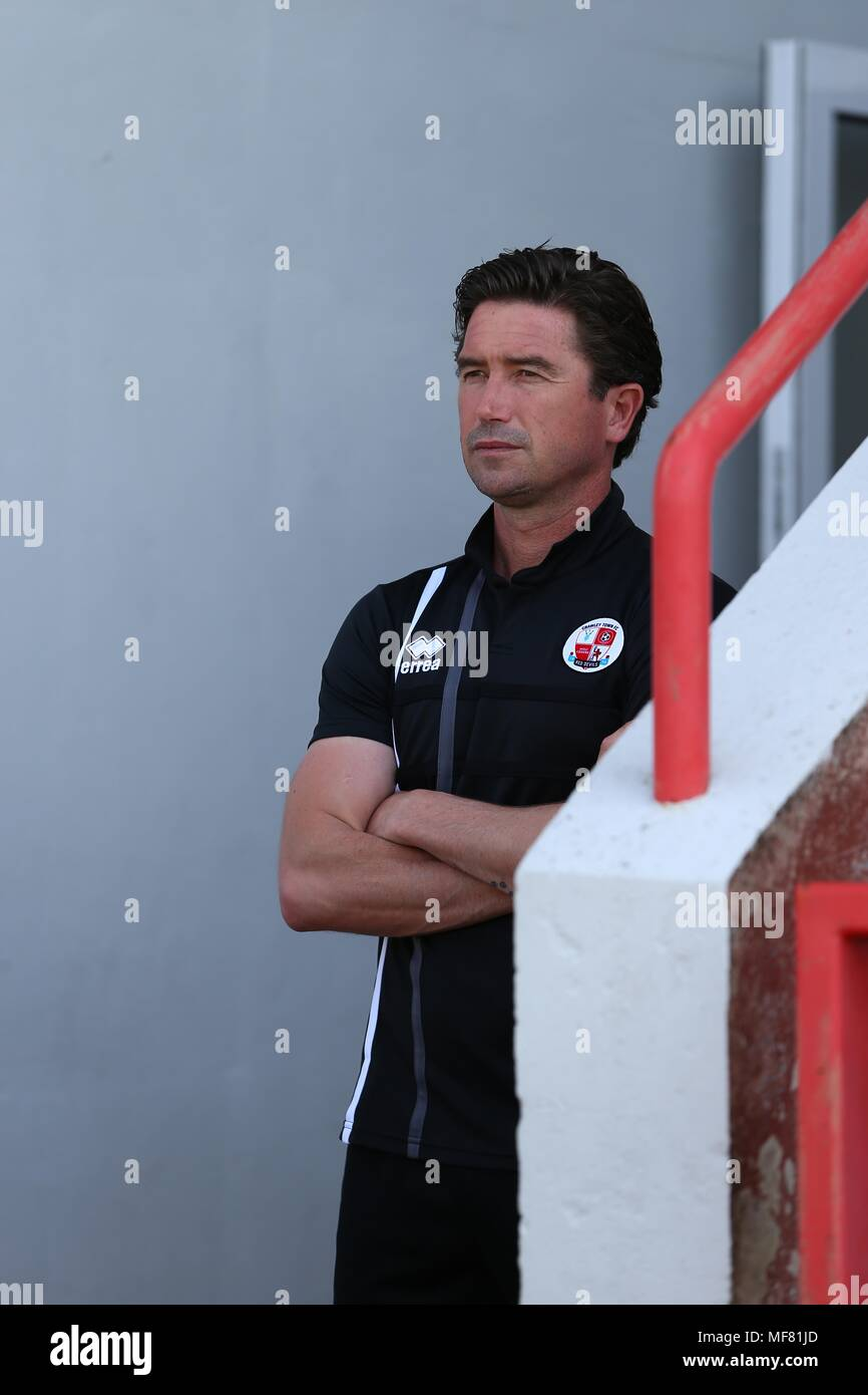 Crawley Town's head coach Harry Kewell during the Sky Bet League 2 match between Exeter City and Crawley Town at St James Park in Exeter. 21 Apr 2018  EDITORIAL USE ONLY FA Premier League and Football League images are subject to DataCo Licence see www.football-dataco.com - Stock Image