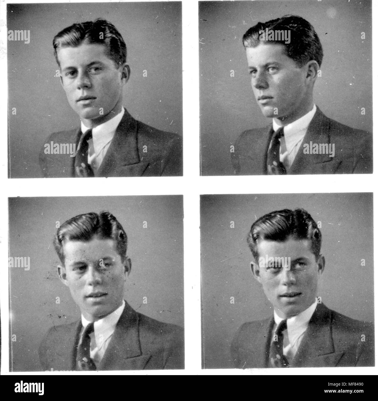 PX81-32:143    c. 1935  Four pictures of John F. Kennedy at age 18 posing for a portrait photograph.  Please Credit:'John F. Kennedy Presidential Library and Museum, Boston' - Stock Image
