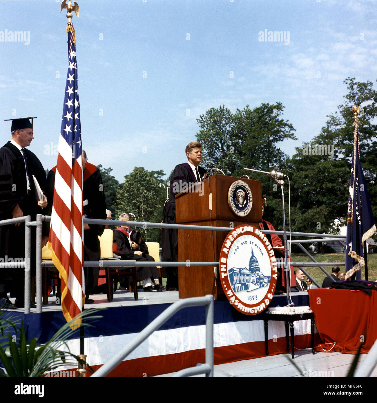 ST-C205-12-63  10 June 1963 Commencement Address at American University, Washington, DC. Please credit 'Cecil Stoughton, White House/John Fitzgerald Kennedy Library, Boston'. - Stock Image