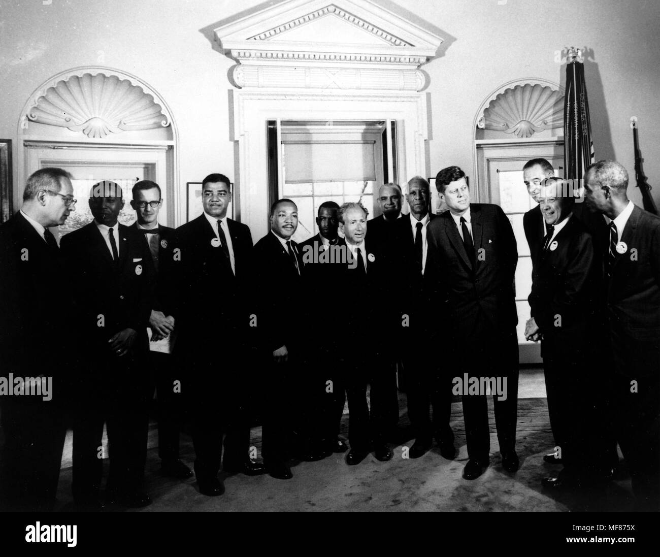 AR 8090-A  28 August 1963 President meets with the Leaders of the March On Washington.  L-R: Secretary of Labor Willard Wirtz, Floyd McKissick, Matthew Ahmann, Whitney Young,  Rev. Dr. Martin Luther King, Jr., John Lewis, Rabbi Joachim Prinz, Rev. Eugene Carson Blake, A. Philip Randolph, President Kennedy, Vice President Johnson, Walter Ruether, Roy Wilkins. White House, Oval Office. Please credit 'Abbie Rowe, National Park Service/John Fitzgerald Kennedy Library, Boston'. - Stock Image