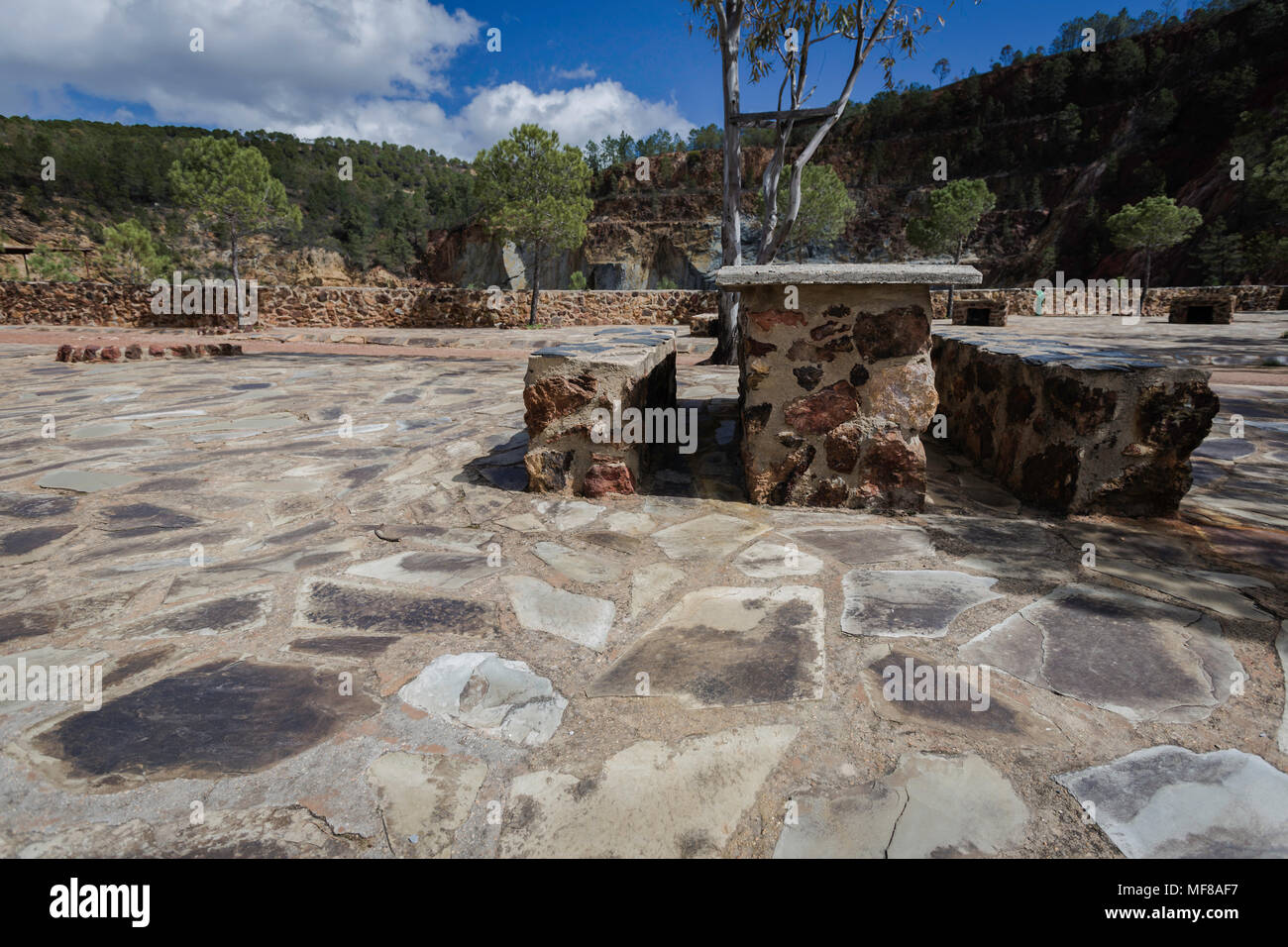 Tables and seats of stones with the forest - Stock Image