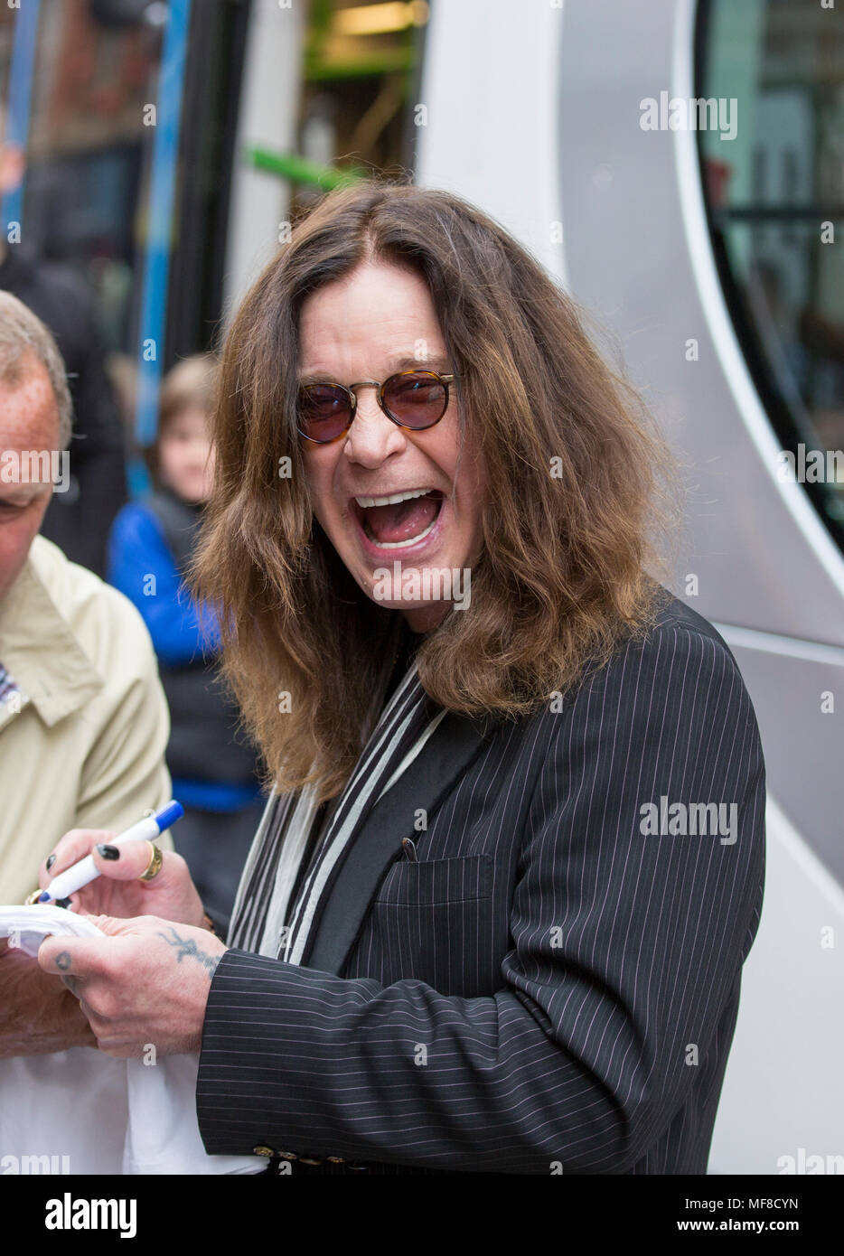 Ozzy Osbourne at an ceremony in Birmingham to name a tram after him - Stock Image