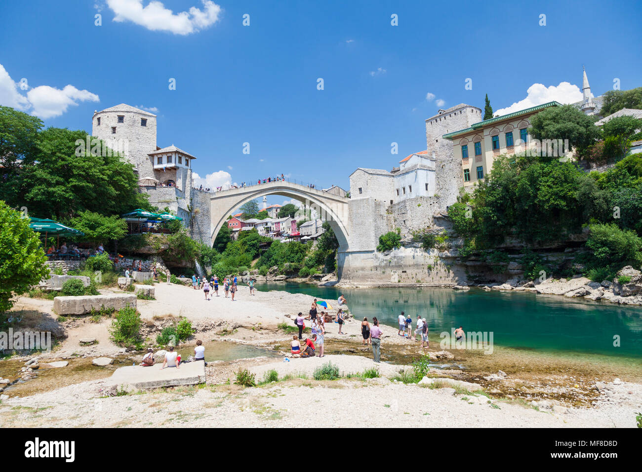 The Stari Most, Old Bridge from the banks of the Neretva River in Mostar, Bosnia and Herzegovina - Stock Image