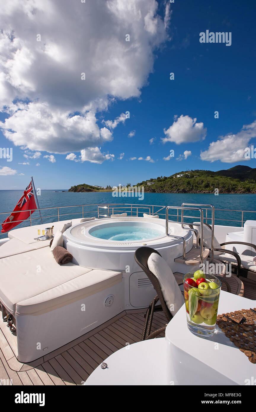 Sundeck on superyacht with Jacuzzi - Stock Image