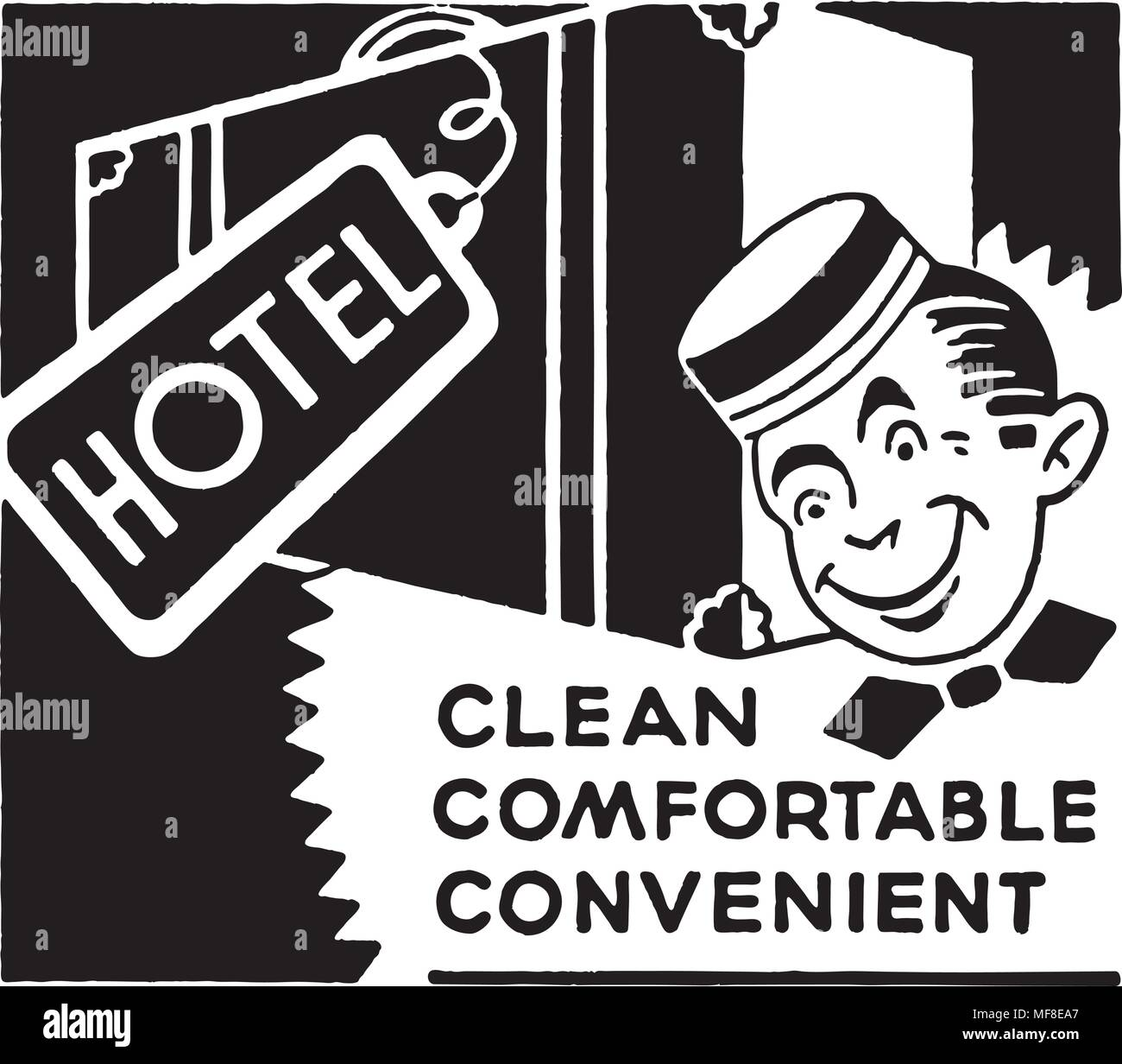 Hotel Clean Comfortable - Retro Ad Art Banner - Stock Image