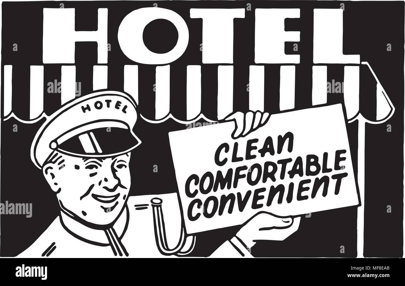 Hotel Clean Comfortable 2 - Retro Ad Art Banner - Stock Image