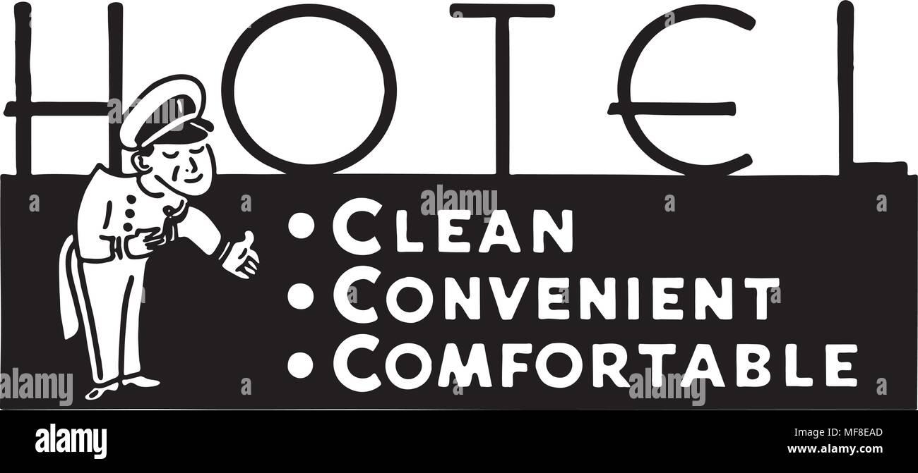 Hotel Clean Convenient - Retro Ad Art Banner - Stock Image
