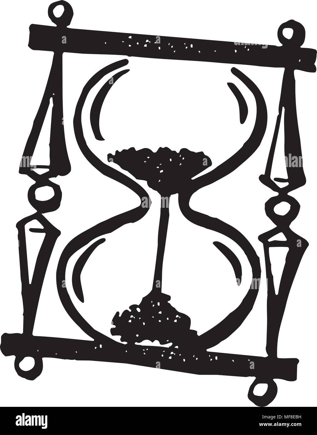 Hourglass - Retro Clipart Illustration - Stock Image
