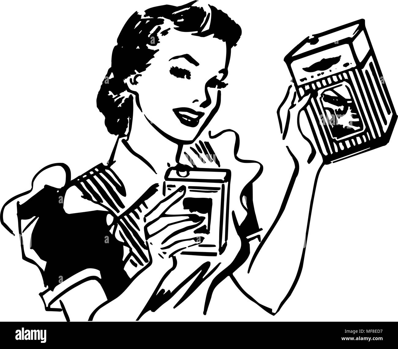 Housewife With Products - Retro Clipart Illustration Stock ...