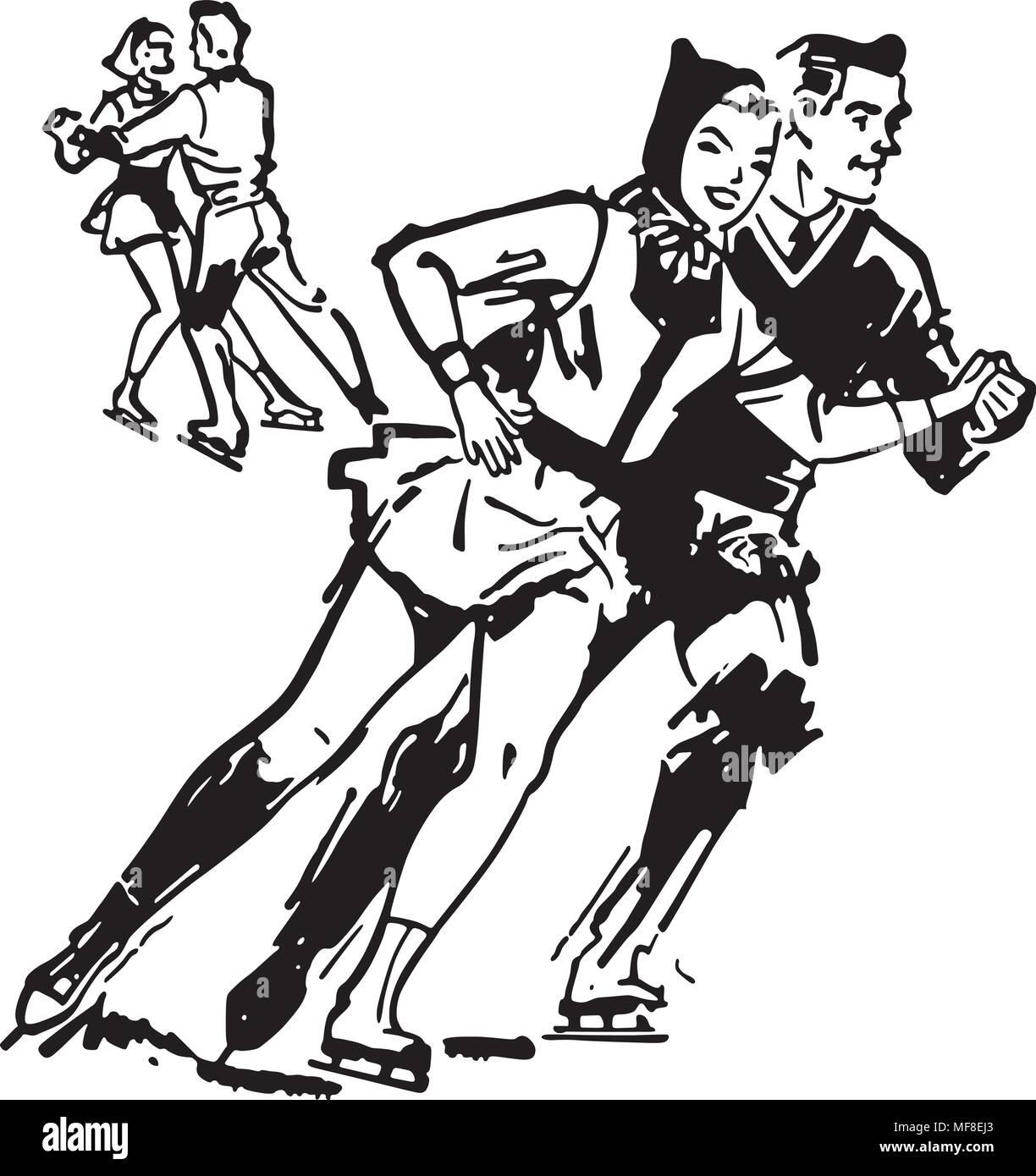 Ice Skaters - Retro Clip Art Illustration - Stock Vector