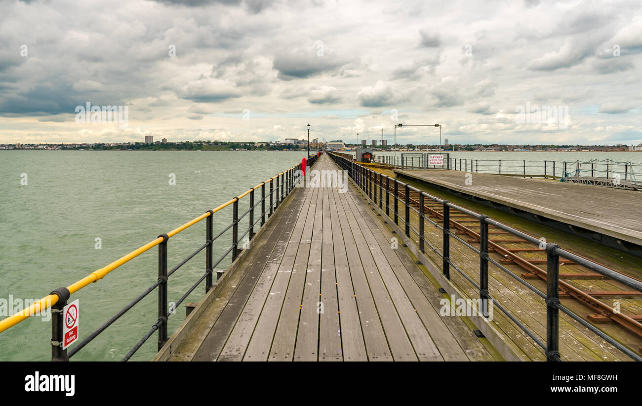 Southend-on-Sea, Essex, England, UK - May 30, 2017: View from Southend Pier (longest pleasure pier in the world) towards Southend - Stock Image