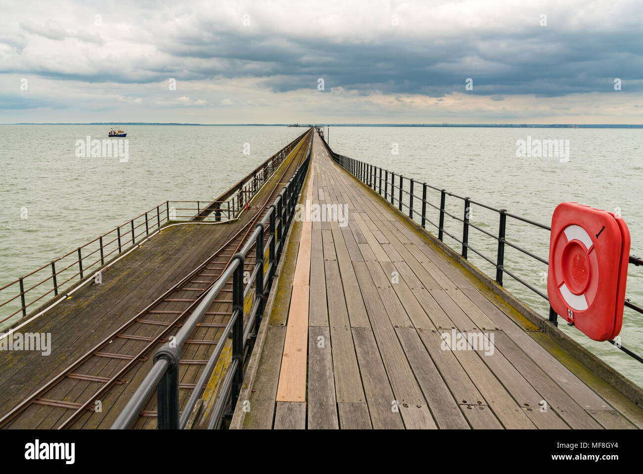 Southend-on-Sea, Essex, England, UK - May 30, 2017: View at Southend Pier (longest pleasure pier in the world) towards the Pier Head in the background - Stock Image