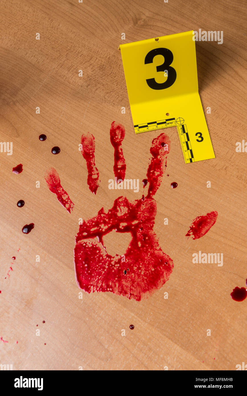 A bloody handprint marked with a crime scene evidence marker. - Stock Image