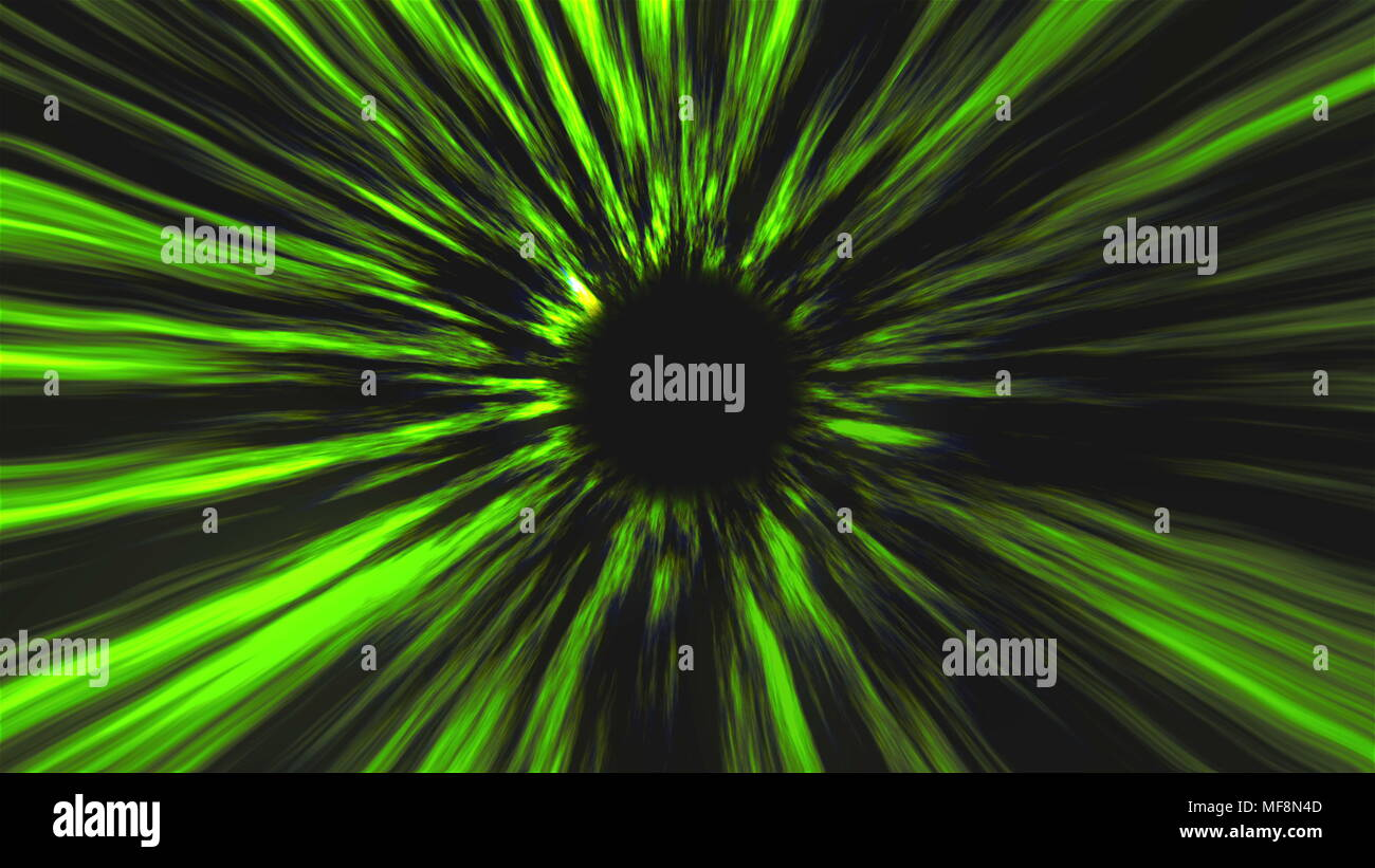 Abstract black hole, time warp, distortion of space, traveling in space, 3d rendering background - Stock Image