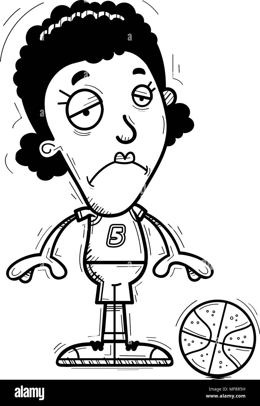 A cartoon illustration of a black woman basketball player looking sad. - Stock Image
