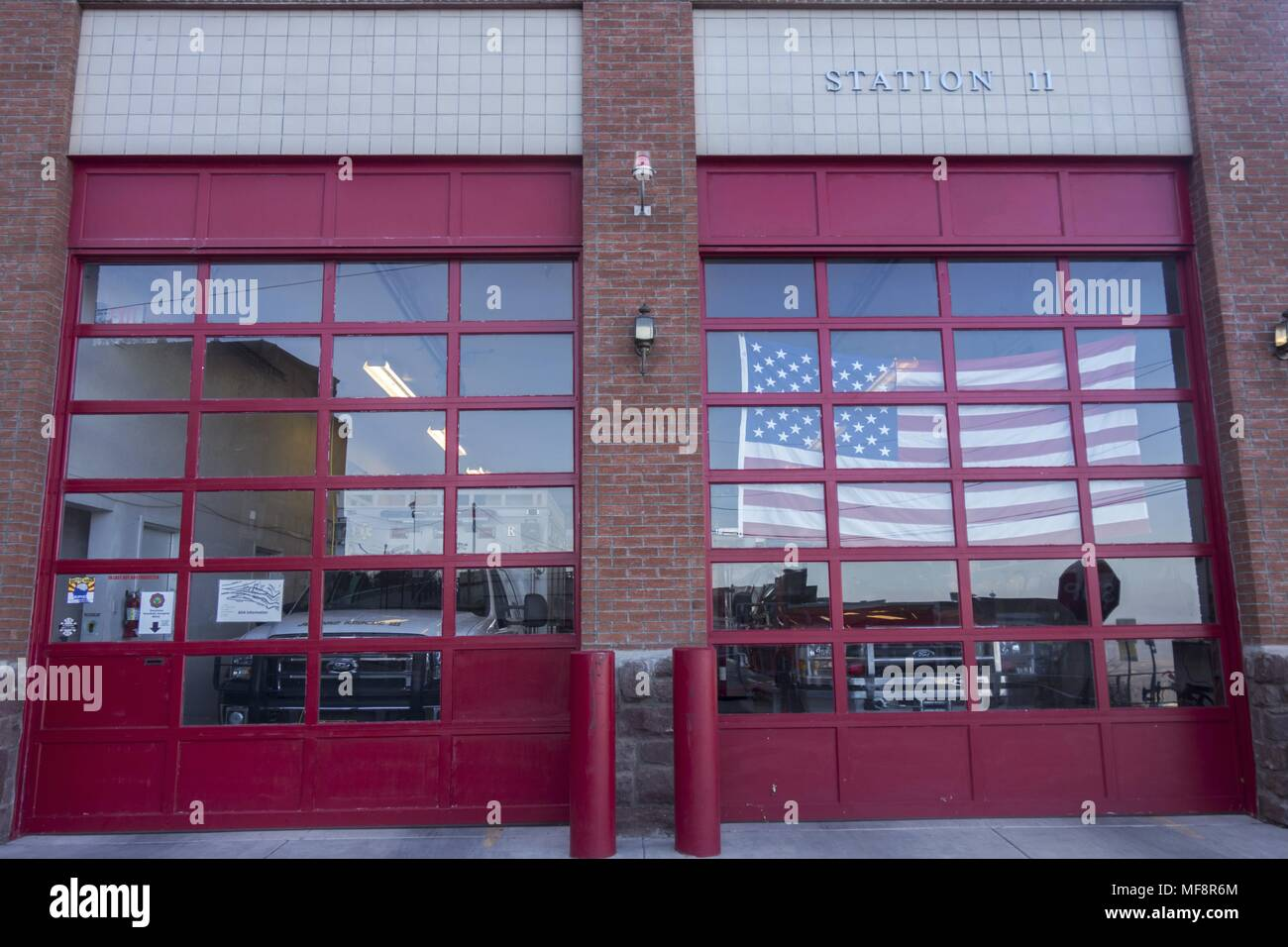 Closed Garage Door Of Fire Station In Jerome Arizona City Center