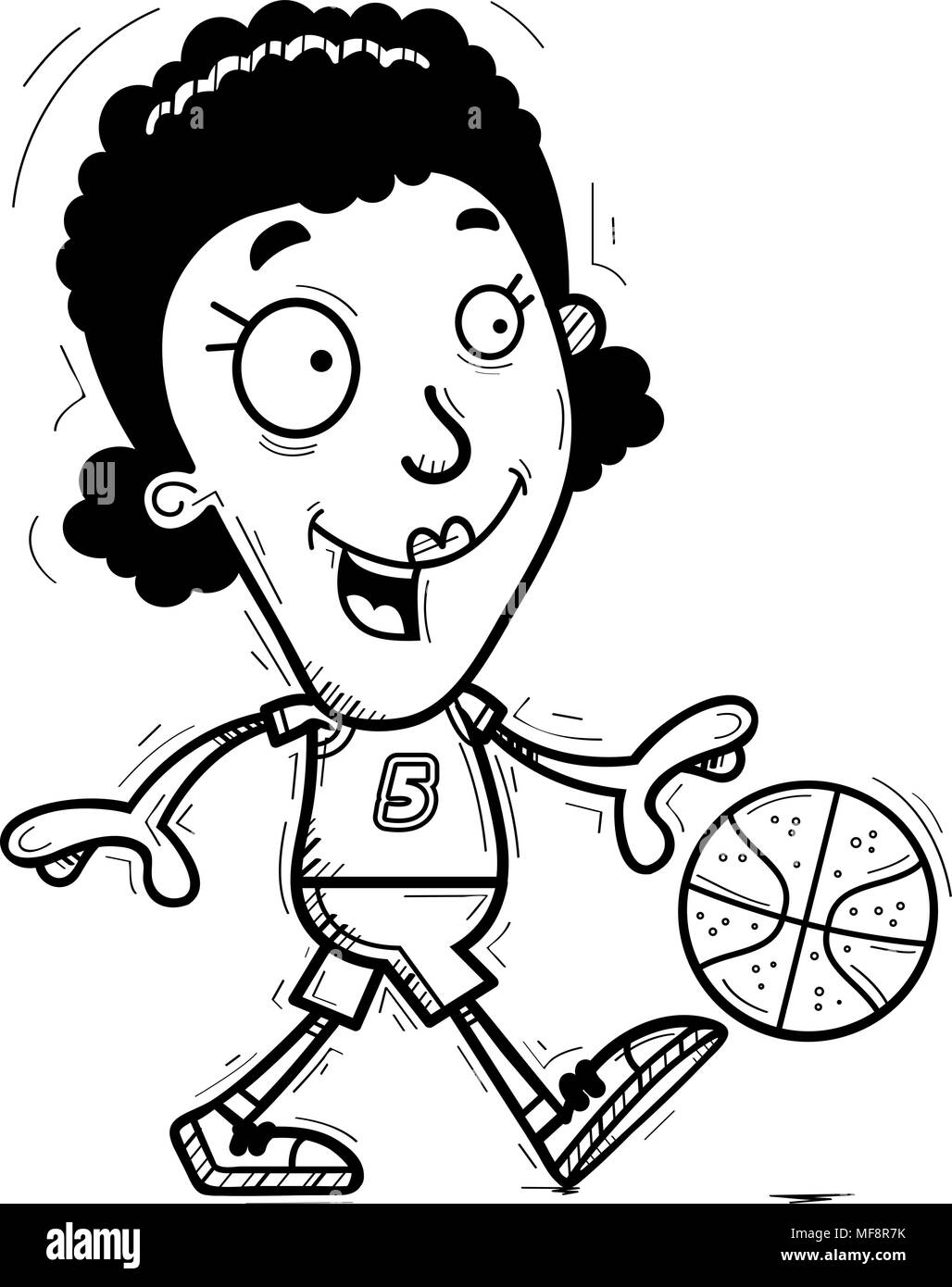 A cartoon illustration of a black woman basketball player walking. - Stock Image