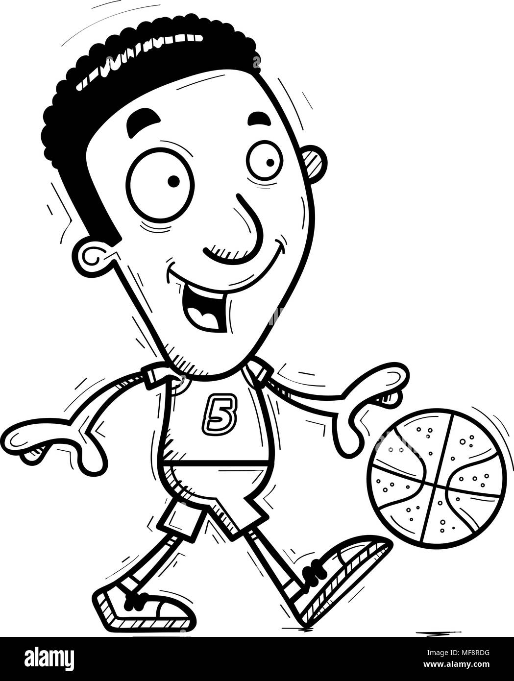 A cartoon illustration of a black man basketball player walking. - Stock Image