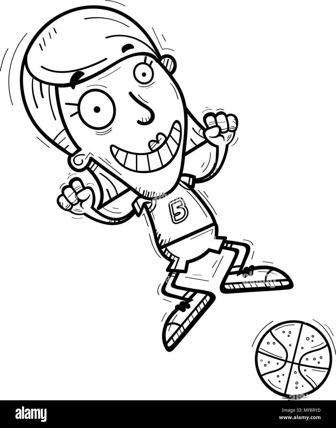 A cartoon illustration of a woman basketball player jumping. - Stock Image