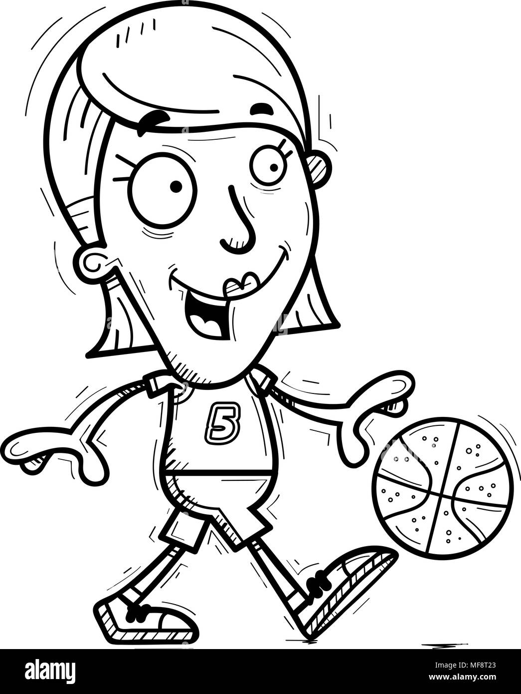 A cartoon illustration of a woman basketball player walking. - Stock Image