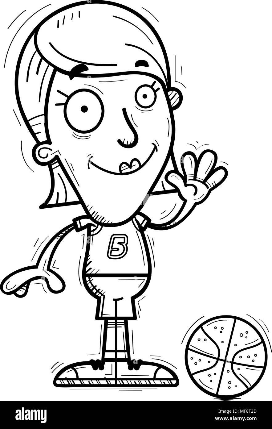 A cartoon illustration of a woman basketball player waving. - Stock Image