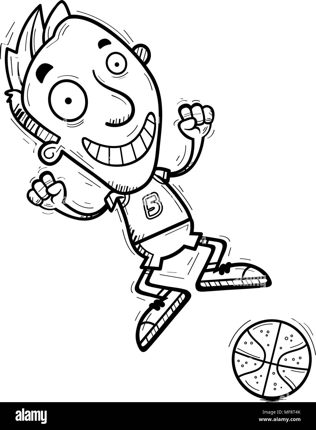 A cartoon illustration of a man basketball player jumping. - Stock Image