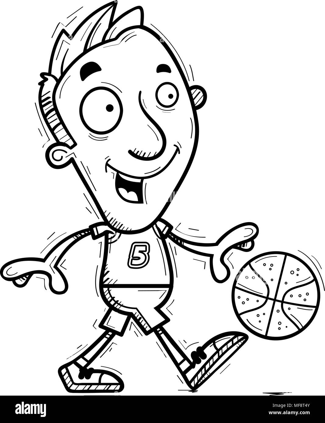 A cartoon illustration of a man basketball player walking. - Stock Image