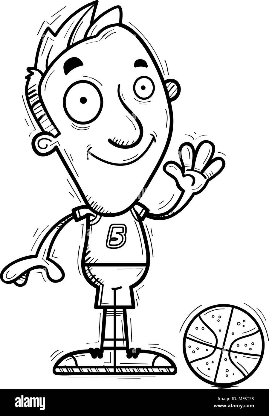 A cartoon illustration of a man basketball player waving. - Stock Image
