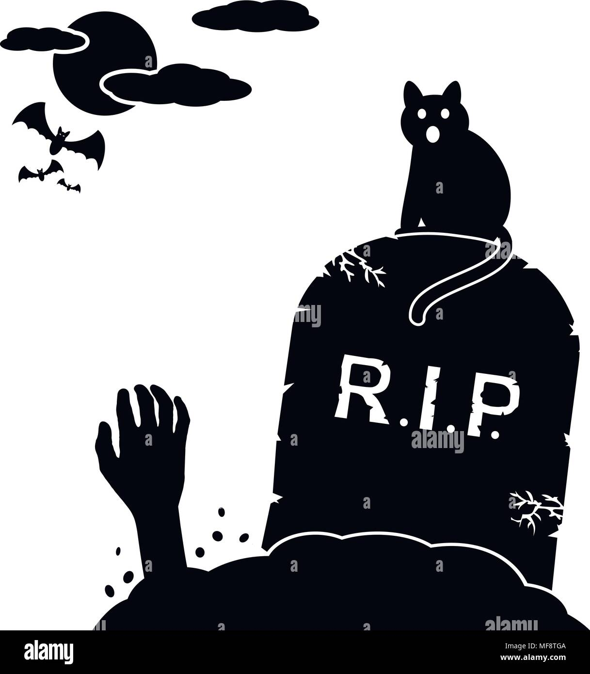 Cat sitting by gravestone and zombie hands rising out from the ground on cemetery. Vector illustration. - Stock Vector
