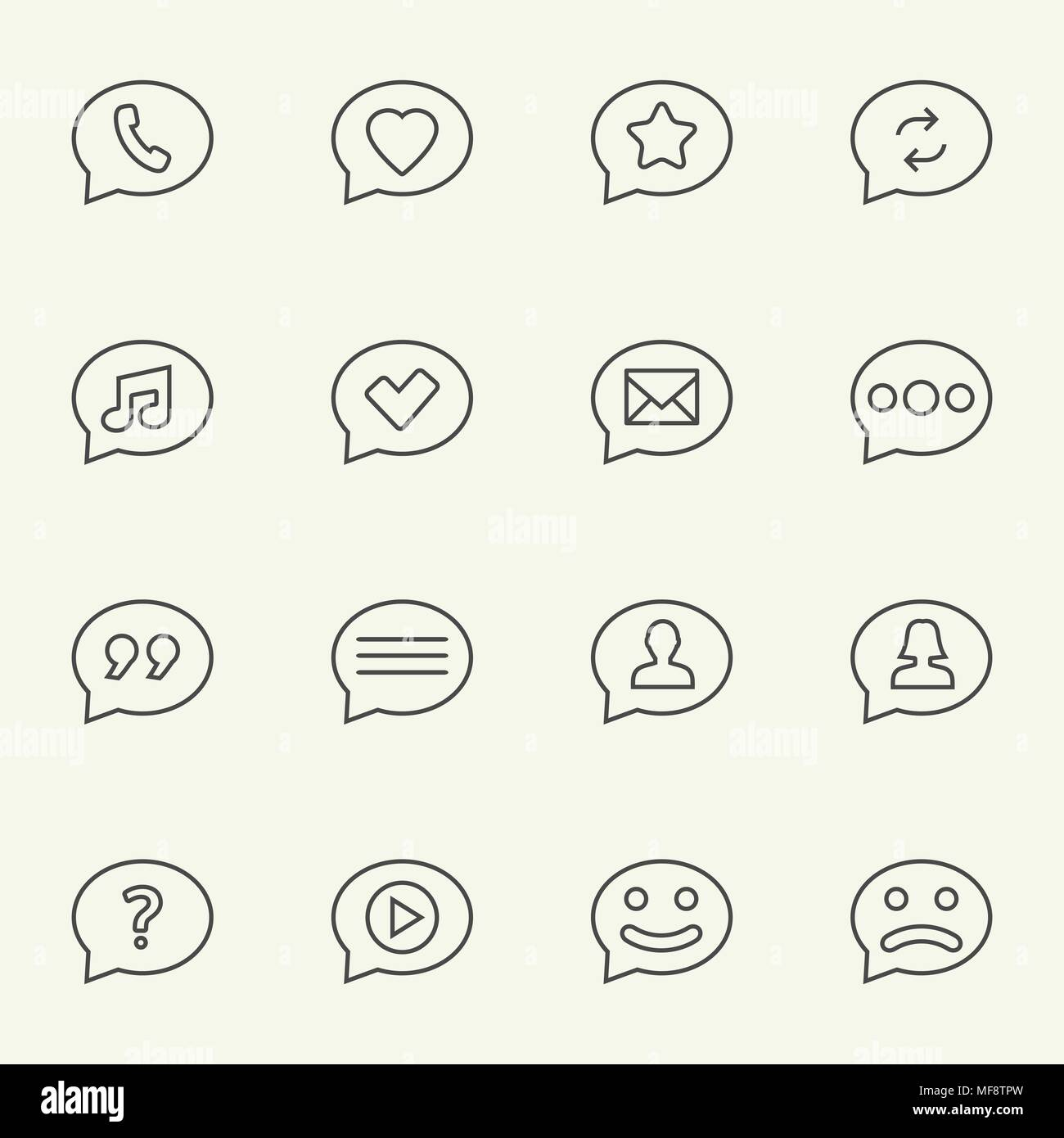 symbols in speech bubbles vector icon set in thin line style stock