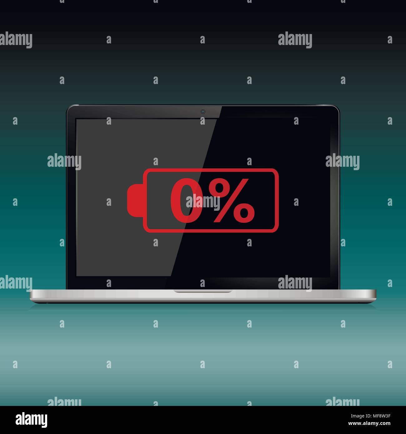 Modern laptop with low battery sign on the screen. Vector illustration. - Stock Image