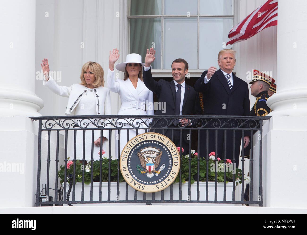 Washington, USA. 24th Apr, 2018. Mrs. Brigitte Macron(L), U.S. first ...