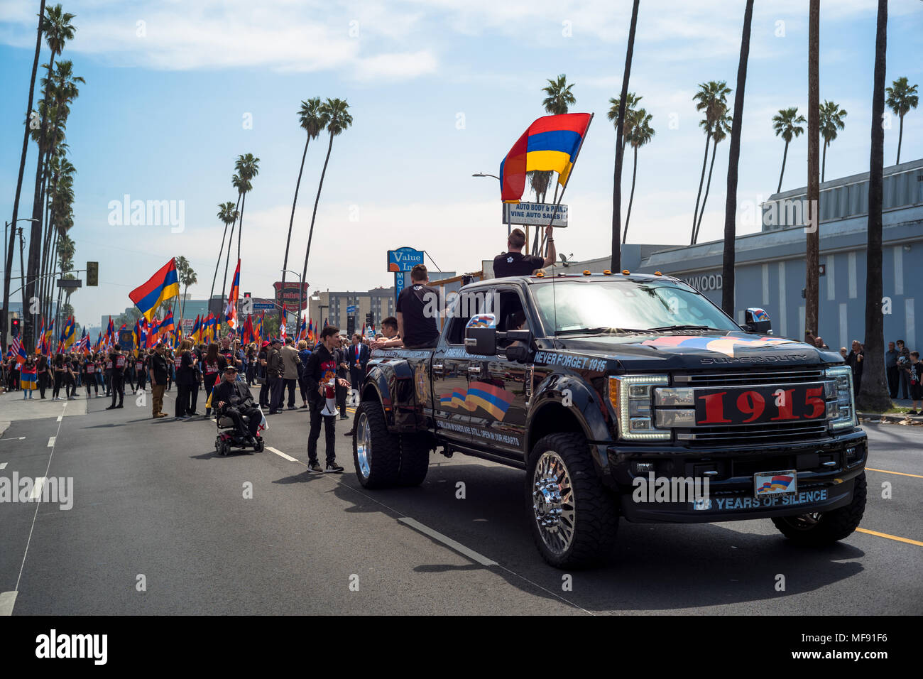 Los Angeles, USA. 24th April 2018. Thousands march in Los Angeles to mark 103rd Anniversary of Armenian Genocide Credit: Nick Savander/Alamy Live News Stock Photo
