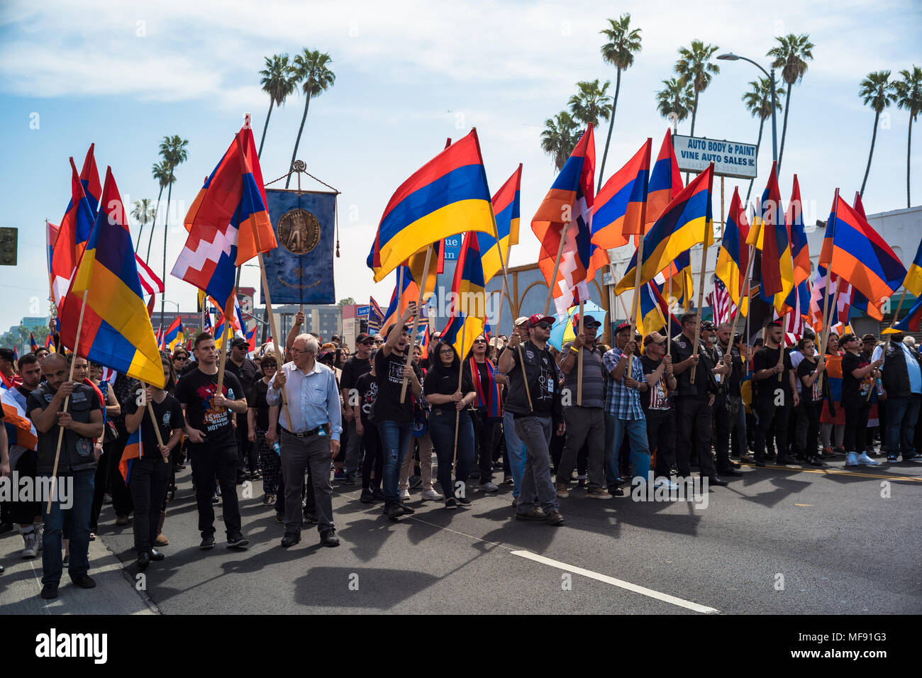 Los Angeles, USA. 24th April 2018. Thousands march in Los Angeles to mark 103rd Anniversary of Armenian Genocide Credit: Nick Savander/Alamy Live News - Stock Image