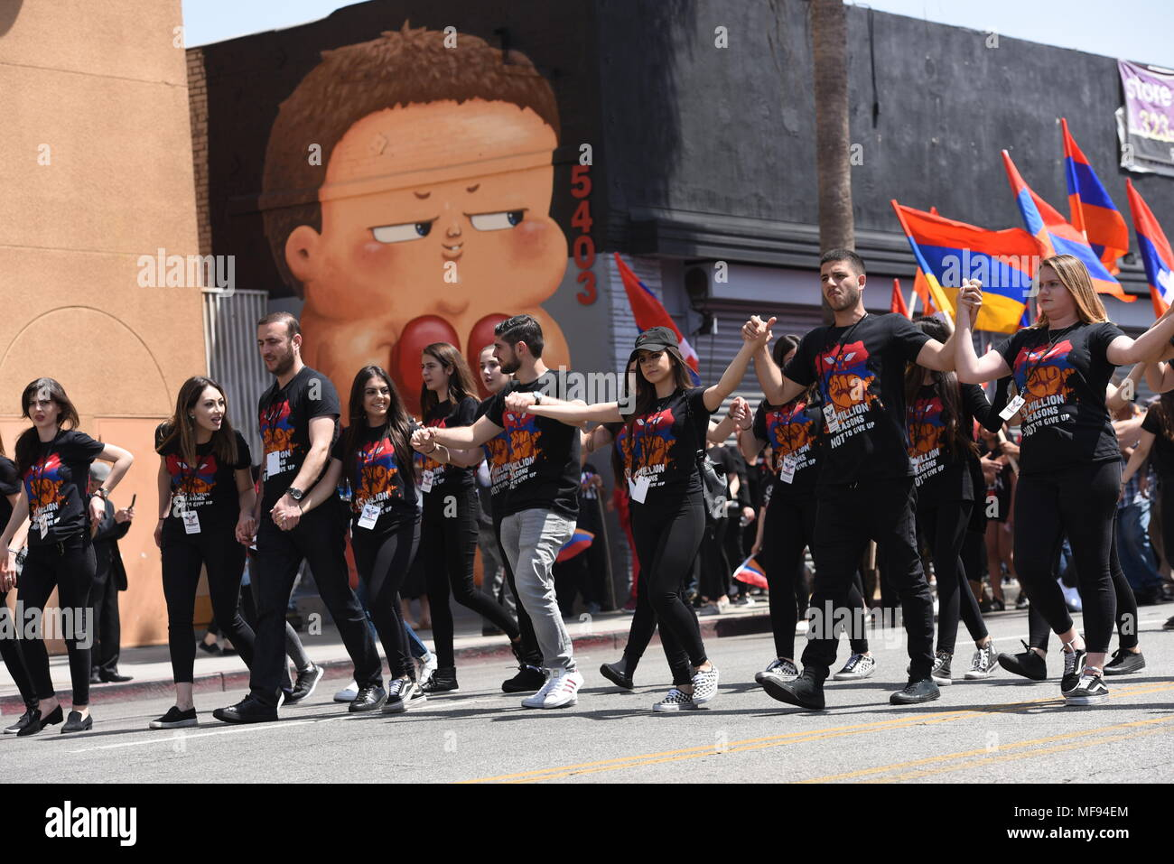 Los Angeles, USA. LOS ANGELES, CA - APRIL 24, 2018, Unified Young Armenians (UYA) organize the Armenian genocide commemoration event in Little Armenia.  Little Armenia is a community that is part of the Hollywood district of Los Angeles, California. Credit: Hayk Shalunts/Alamy Live News - Stock Image