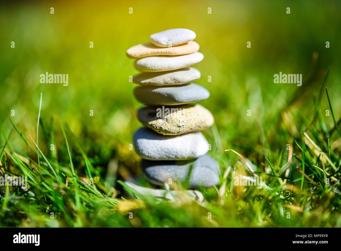Stacked stones, harmony, balance - Stock Image