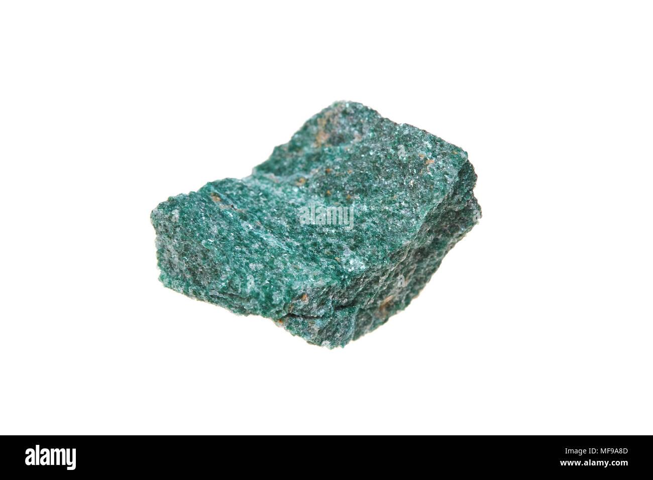 Fuchsite mineral stone, isolated on white background, macro - Stock Image