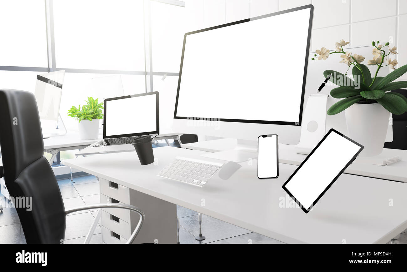 3d rendering mockup of computers, mobile devices and assorted office ...