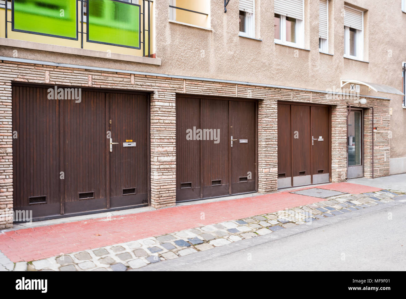 garage gates for cars in a building Stock Photo