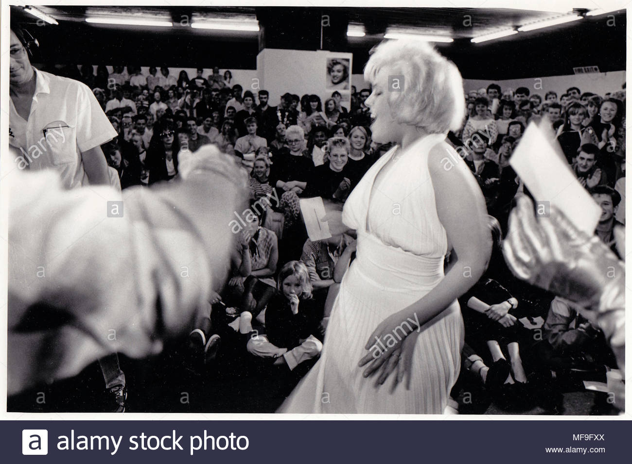 Debbie Knowles is delighted when she hears she has won the Marilyn Monroe look-alike competition in Greater Manchester, North West, England, UK photo DON TONGE photographer - Stock Image